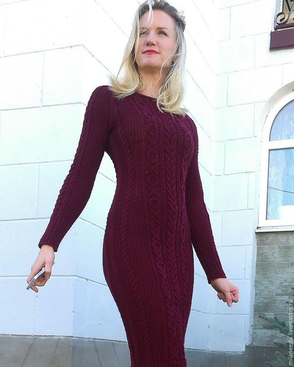 Вязаное платье для женщин спицами марсала схема для вязания веледа 67