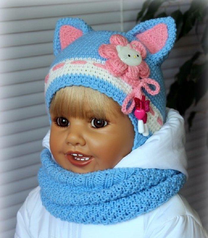 Детские шапки на 2 года вязание 30