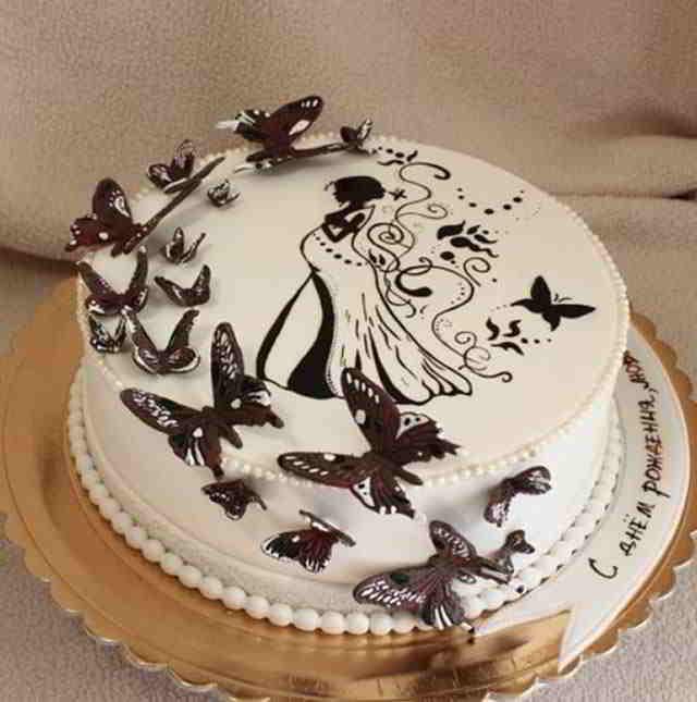 Как сделать шоколадный узор на торте 154