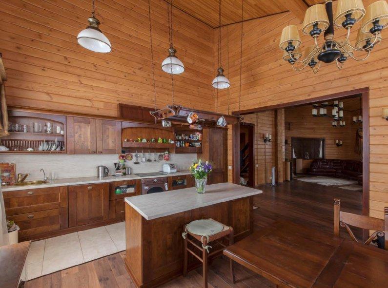 Дизайн кухни на даче в деревянном доме своими руками 38