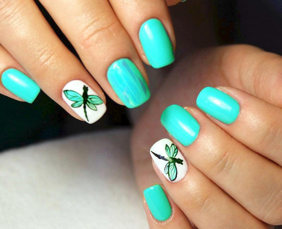 Фото бирюзовых ногтей гель