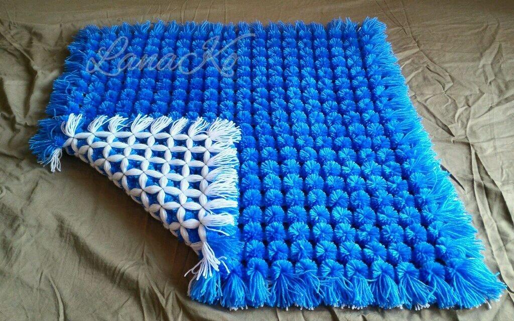 Большое одеяло из помпонов своими руками 13