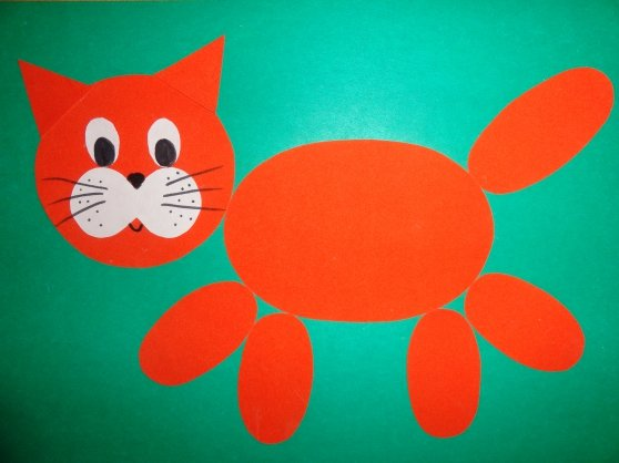 Аппликация из цветной бумаги котенок