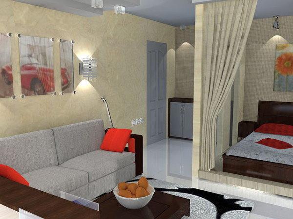 Интерьер малогабаритной однокомнатной квартир