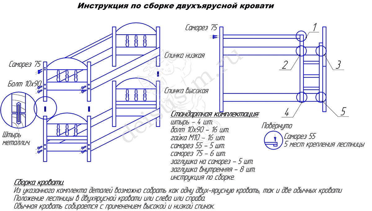 Двухъярусная кровать своими руками чертежи и