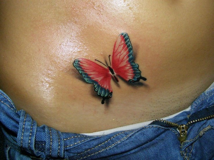 Тату бабочек на животе