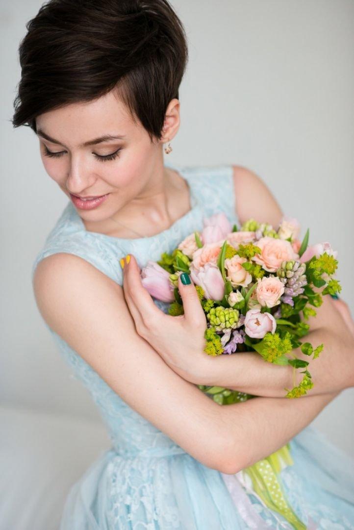 Фото причесок невесты на короткие волосы