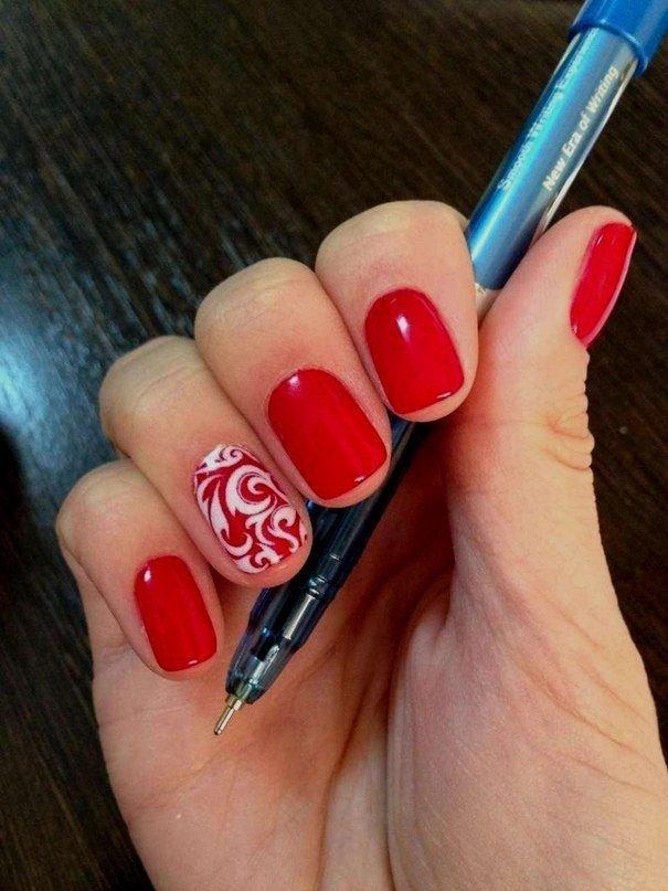 Дизайн ногтей гель лак красный