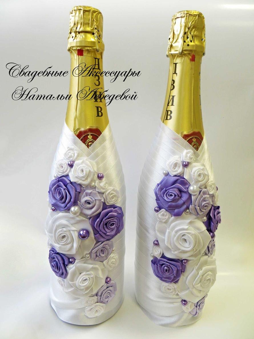 Оформление свадебных бокалов и бутылок 21