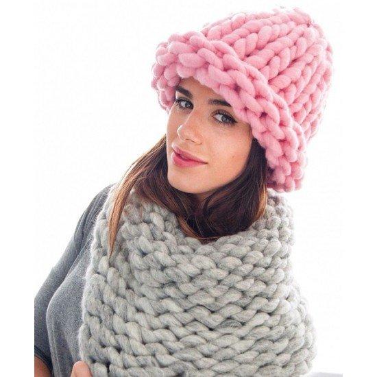 Вязание крупными спицами шапка 112