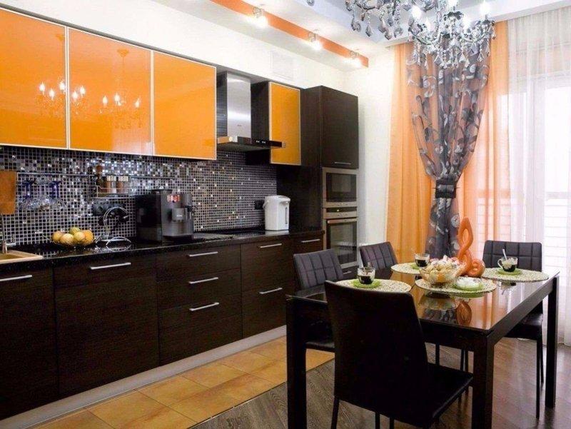 Кухня интерьер дизайн оранжевая