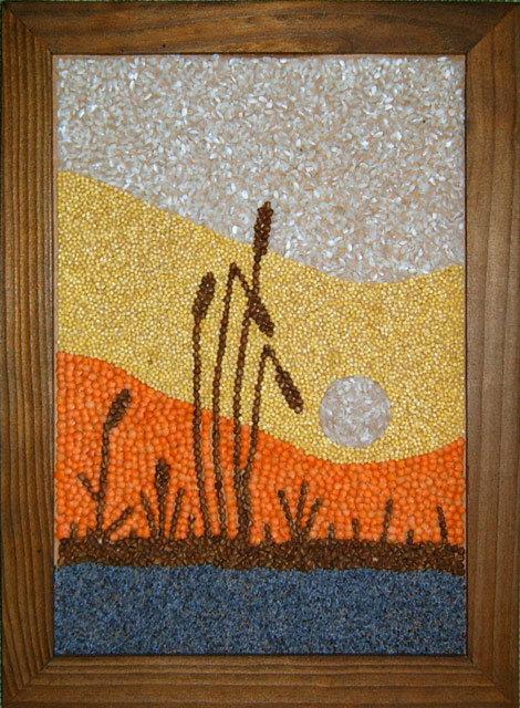 Картины из зерна и крупы