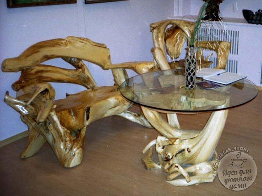 100 идей мебели из коряг, веток, пней и стволов деревьев в интерьере на
