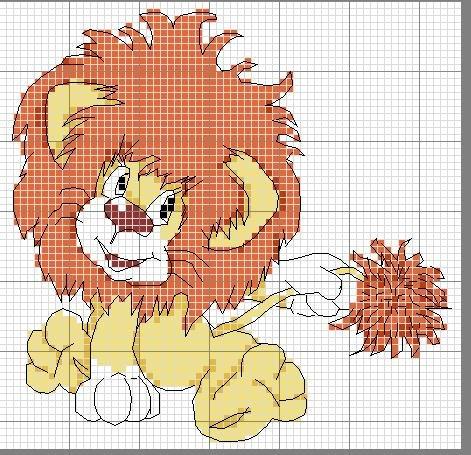 Схема вышивки крестом львята 94