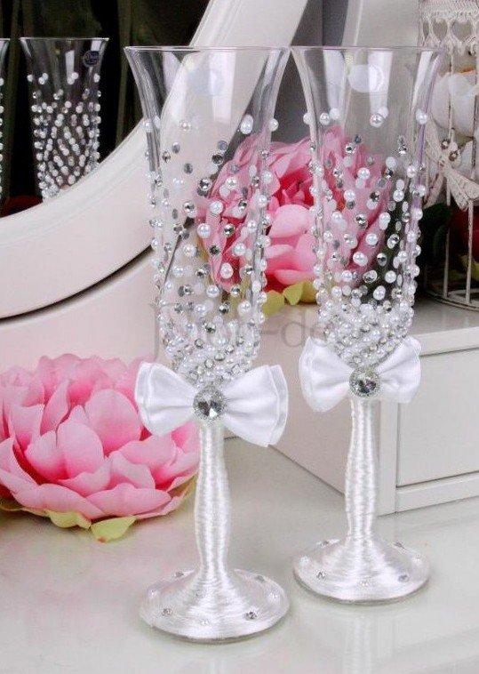 Как украсить свадебные бокалы своими руками инструкция