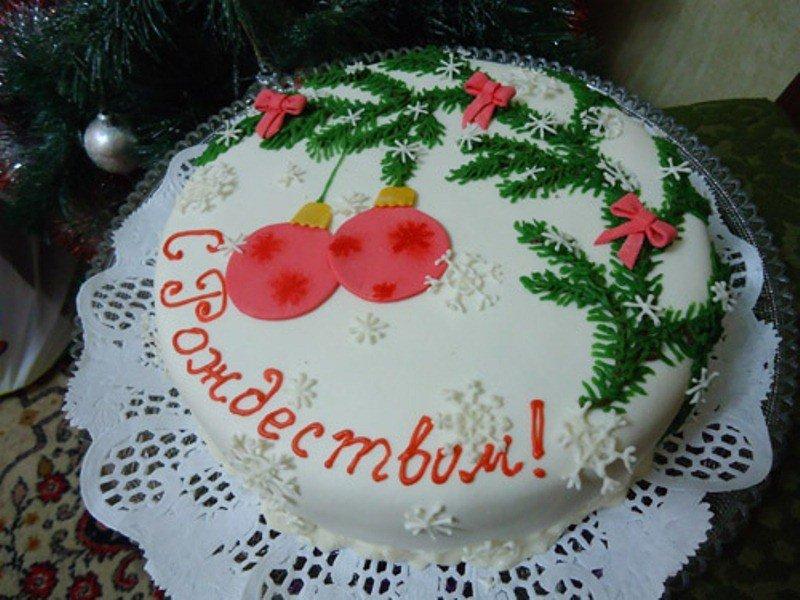 Украсить торт на новый год своими руками фото