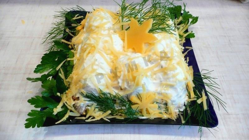 Рецепт салата сугроб с пошагово