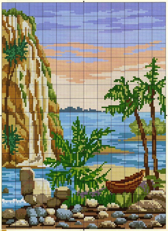Вышивка крестом пейзажи и природа схемы 81