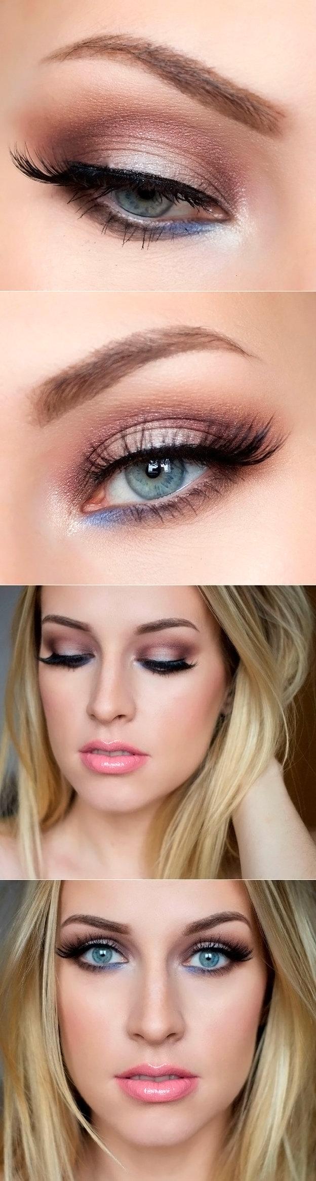 Красивый дневной макияж для серых глаз фото