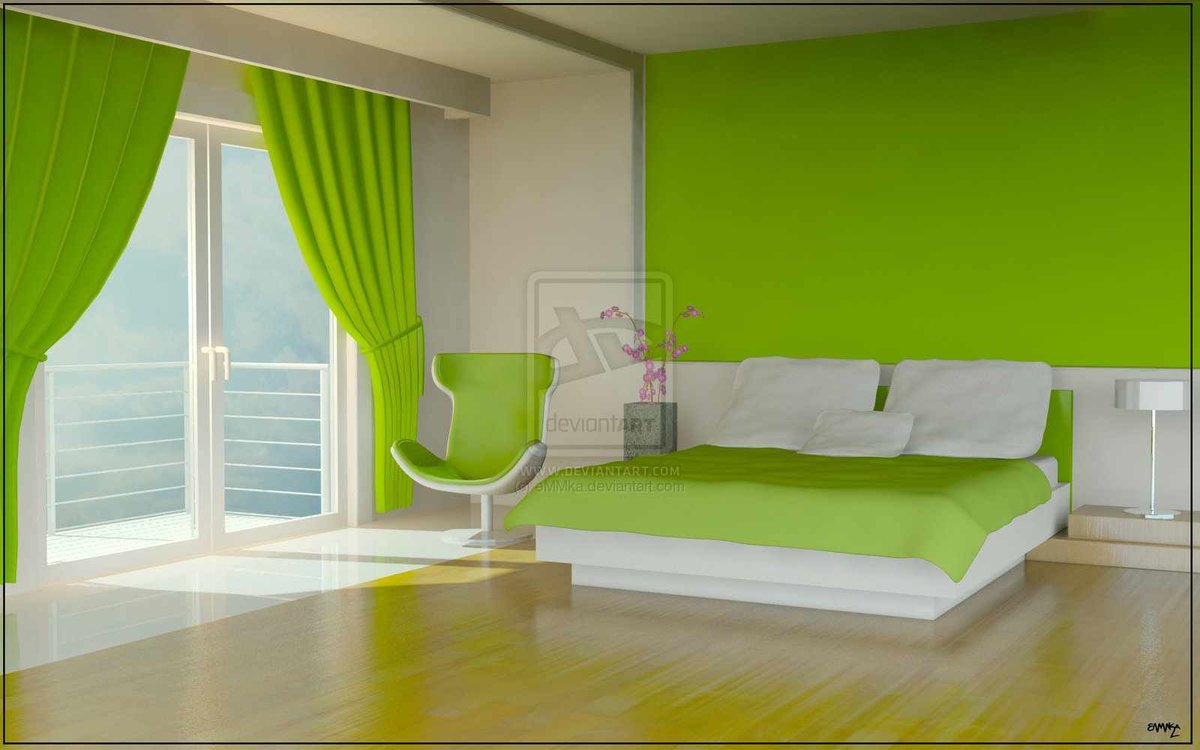 Дизайн спальни салатового цвета