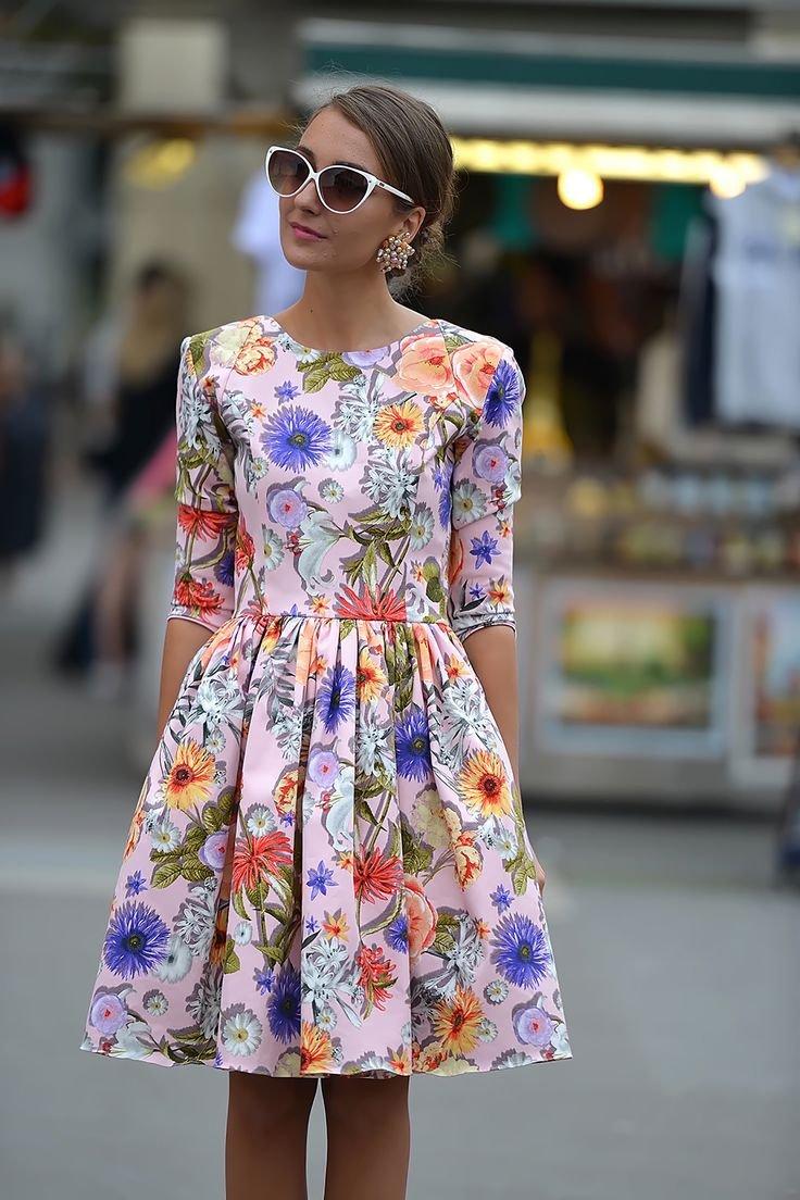 Женские платья с цветочным принтом 2017 год