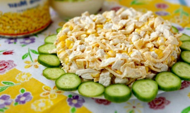 Салаты рецепты с простые и вкусные с яичными блинами