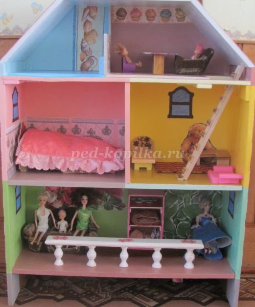 Кукольный домик своими руками пошаговое фото 15