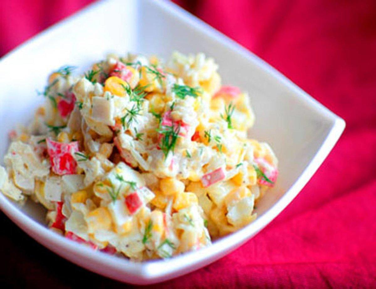 Салат крабовое мясо капуста кукуруза