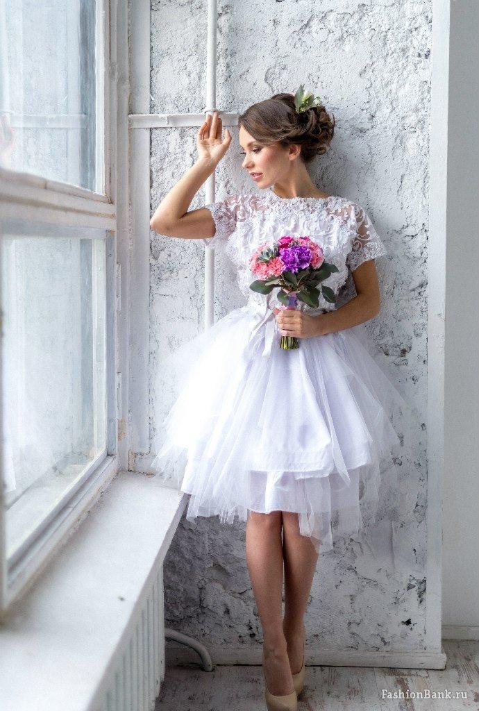 Фото невест в коротких платьях