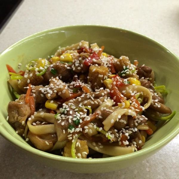 Рецепт удон с курицей и соусом терияки