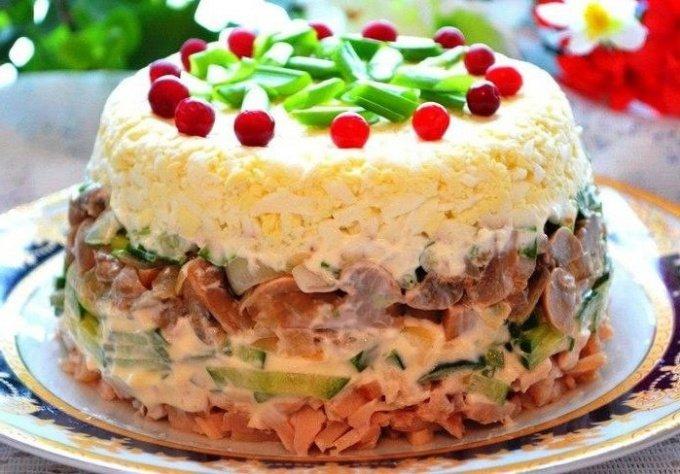 Рецепты салатов с копченой курицей слоеных 124