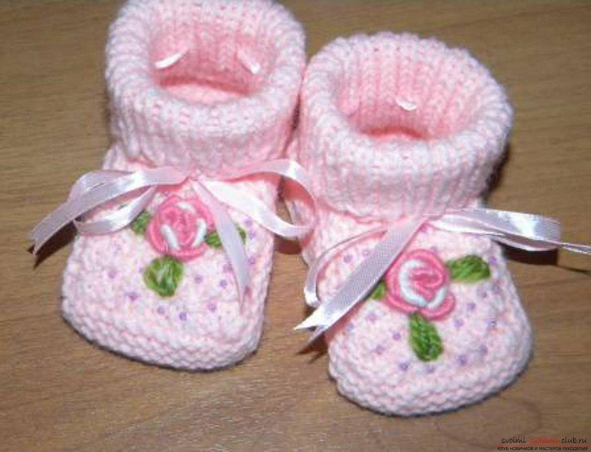 Вязание спицами пинетки для новорожденных фото