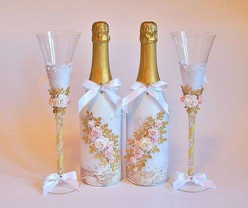 Украсить свадебное шампанское своими руками мастер класс 36