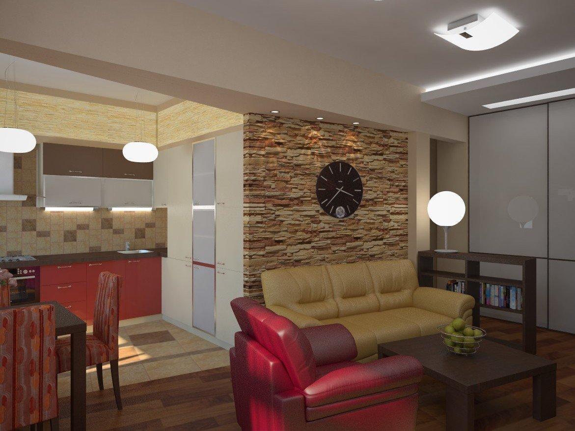 Идеи интерьера гостиной совмещенной с кухней фото