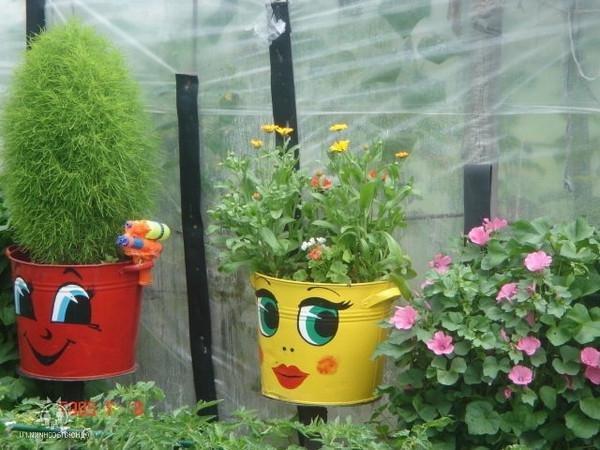 Поделки из ведер для сада и огорода картинки 7