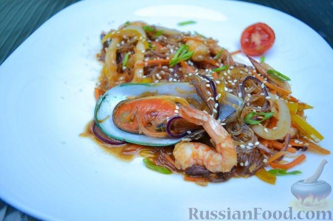 Салат с мидии кальмары креветки