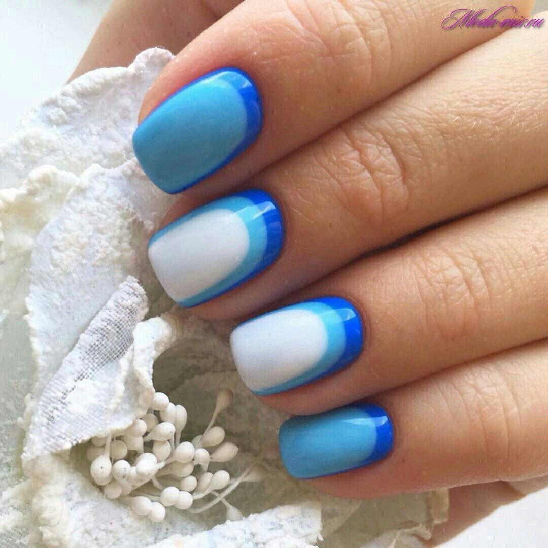 Сочетание синего цвета с другими цветами на ногтях фото