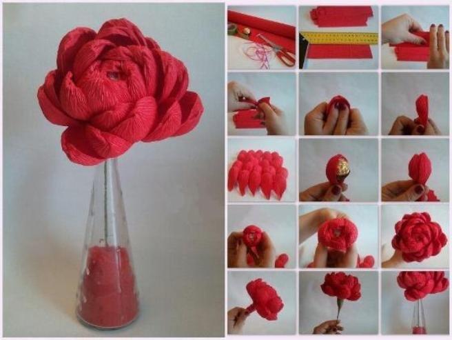 Цветы из гофрированной бумаги с конфетами как сделать
