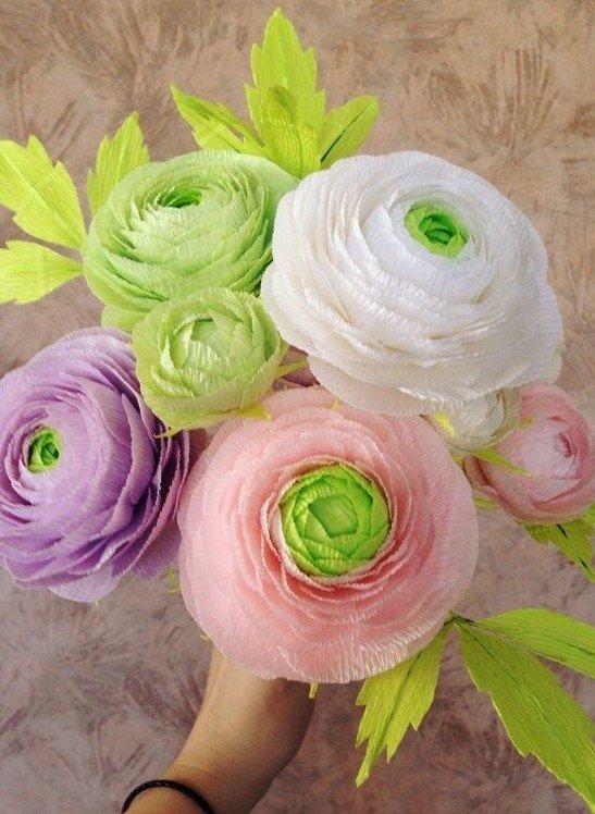 Красивые цветы из гофрированной бумаги  мастер класс 129