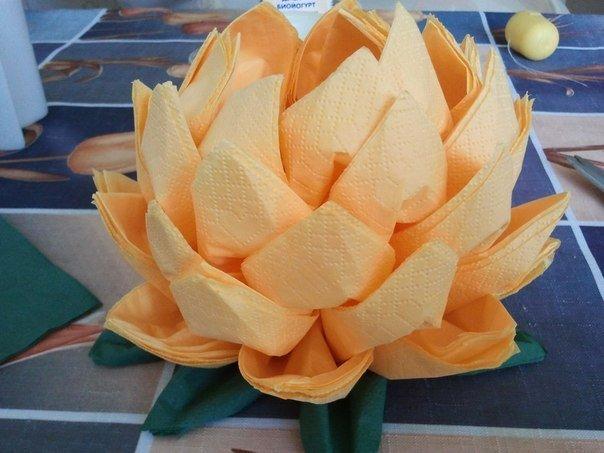 Цветок из салфеток для стола своими руками пошаговое фото