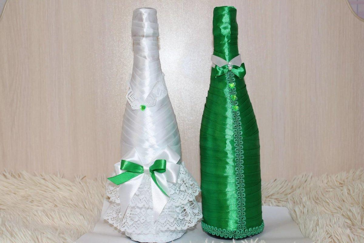 Как своими руками украсить свадебное шампанское - пошаговые 55