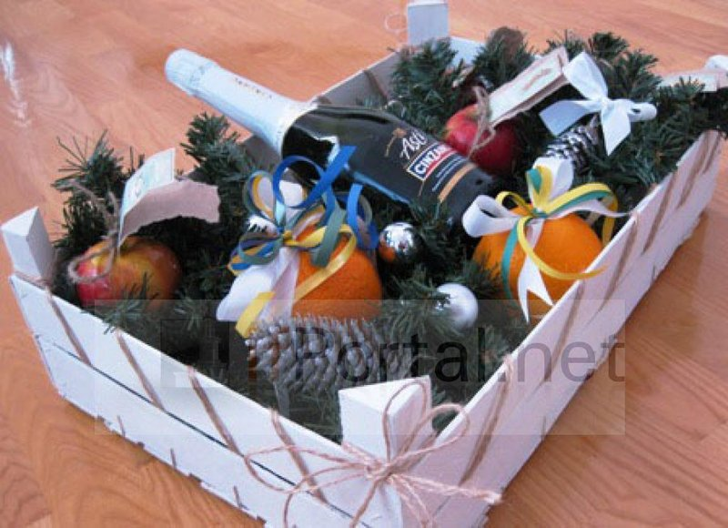 Новогодний подарок в корзине своими руками
