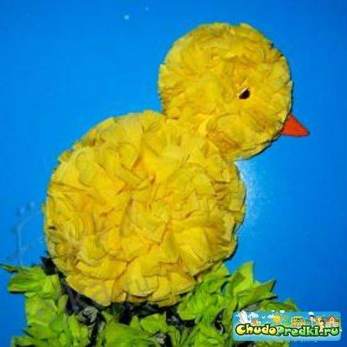 Цыплята из салфеток
