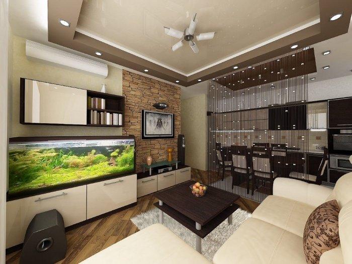 Кухня-гостиная дизайн интерьер 16 кв