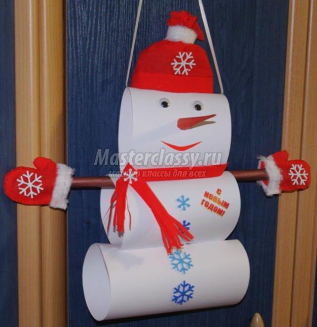Поделка на новый год снеговик из ваты