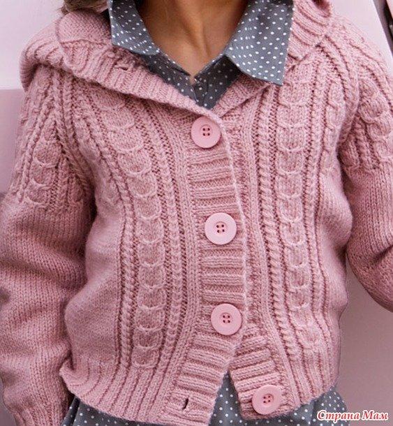 Вязание розовая кофточка спицами для девочки 42