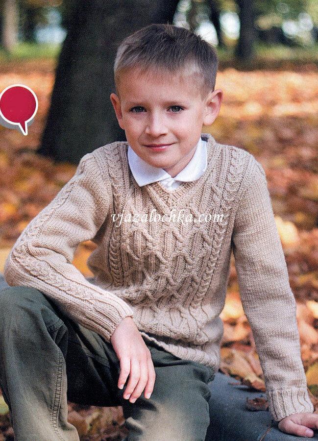 Вязание спицами свитер для мальчика 7-8 лет 80
