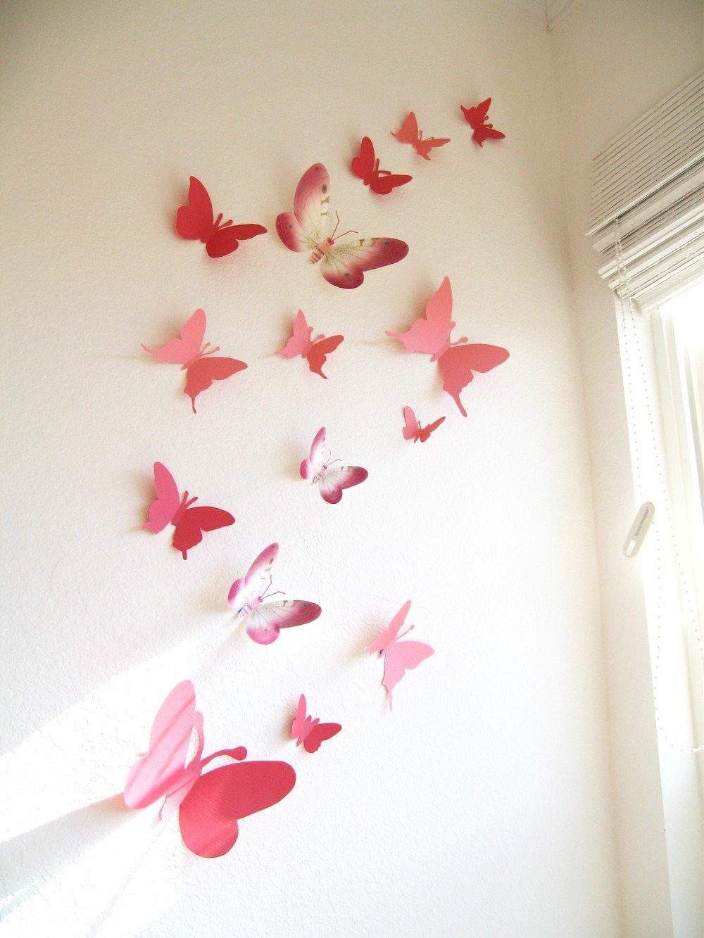 Декор стен бабочками своими руками: трафареты, материалы 37