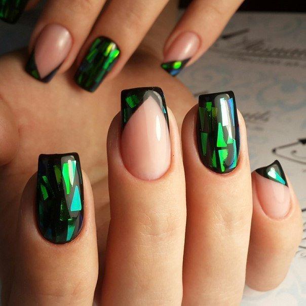 Гель лак фото ногтей дизайн битое стекло