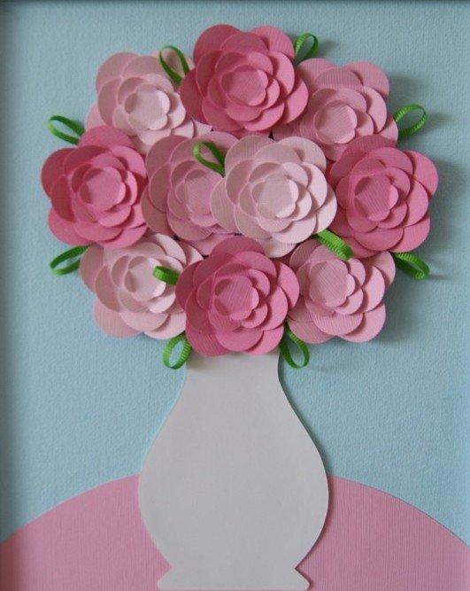 Поделка цветы в вазе из цветной бумаги